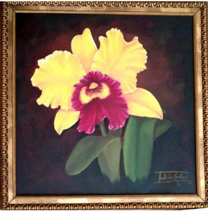 Cattleya - Nathalie Guichard - pintura original oleo