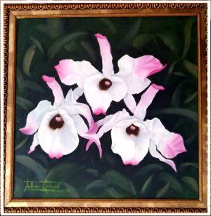 dendrobium nobile- Nathalie Guichard - pintura original oleo